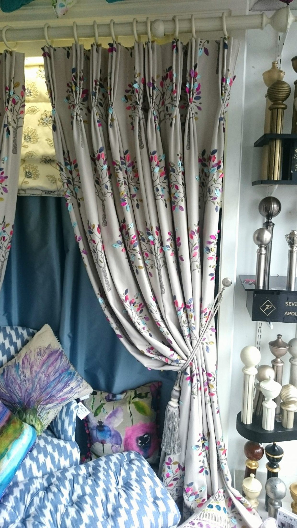 curtain newspaper custom made curtains tieback printed faux linen eos tassel