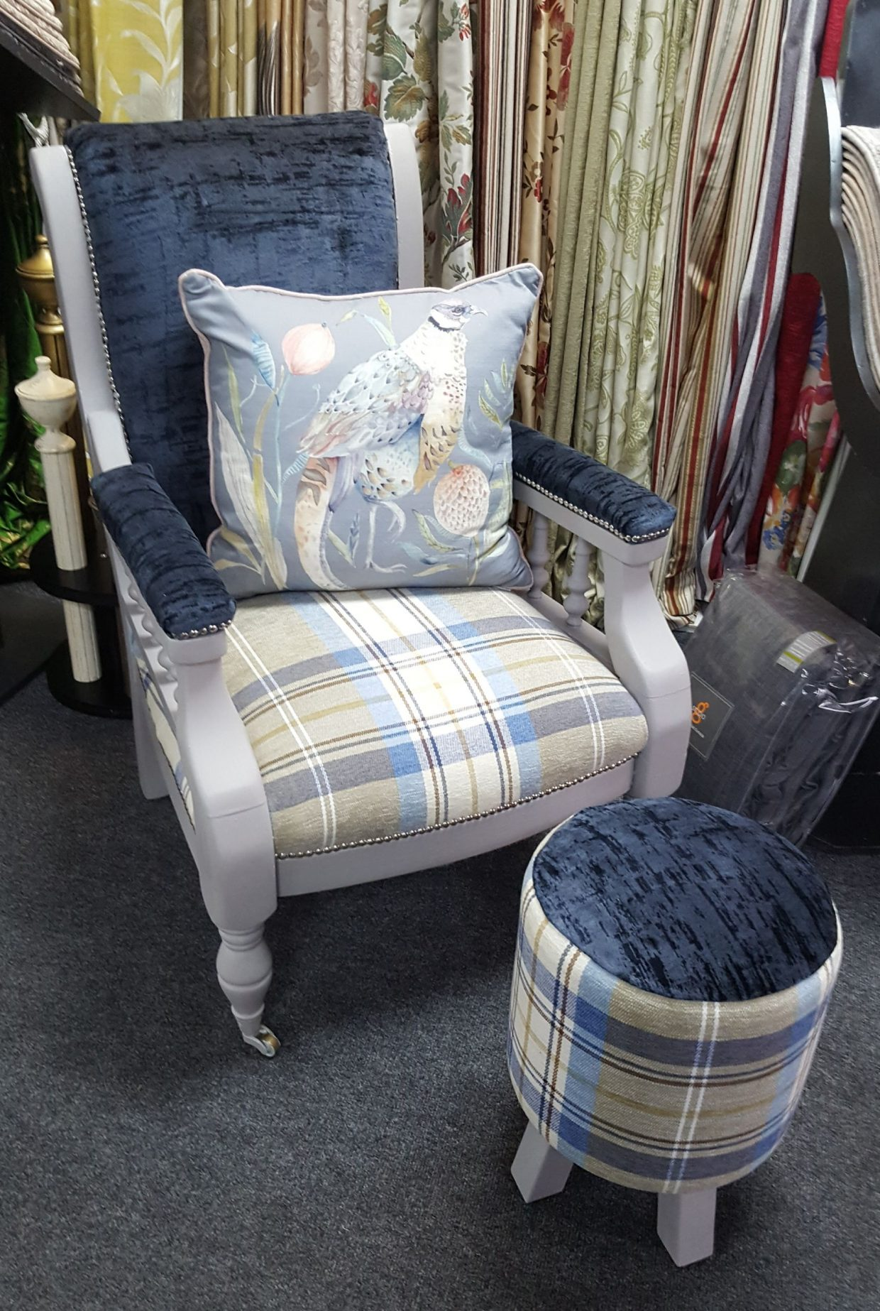 Reupholstered chair and footstool