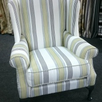 Custom King wing back chair