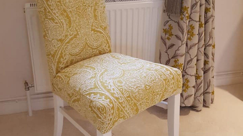 Custom chair, curtain and blind